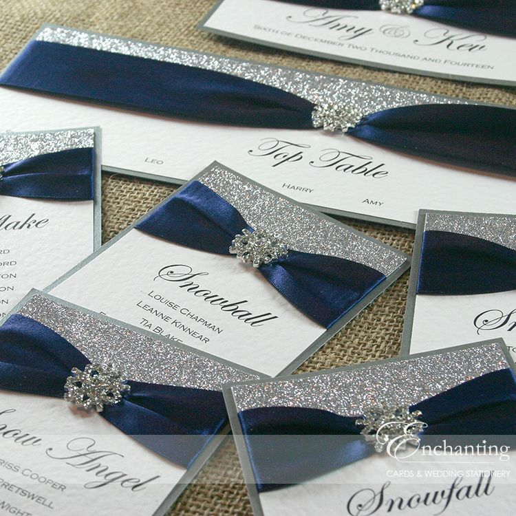 Navy Blue And Silver Wedding Ideas: Navy And Silver Wedding Stationery