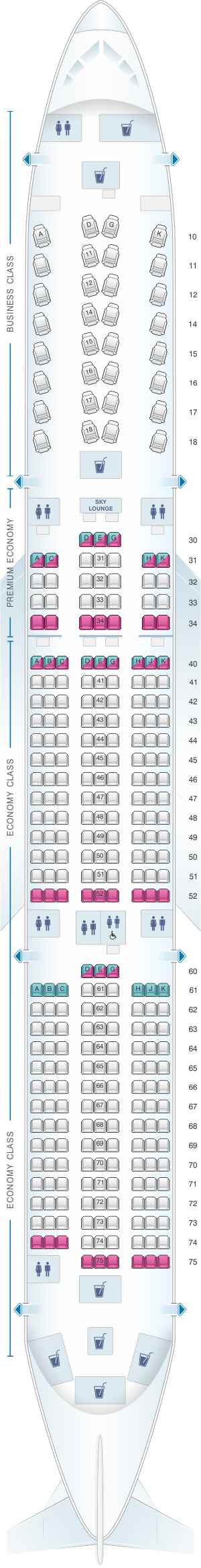 Seat Map China Airlines Airbus A350 900 China Airlines