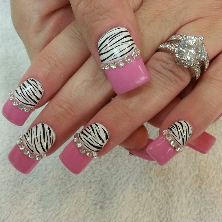 Best gel nail designs pink black pink zebra nail bling nails best gel nail designs pink black pink zebra nail bling prinsesfo Image collections
