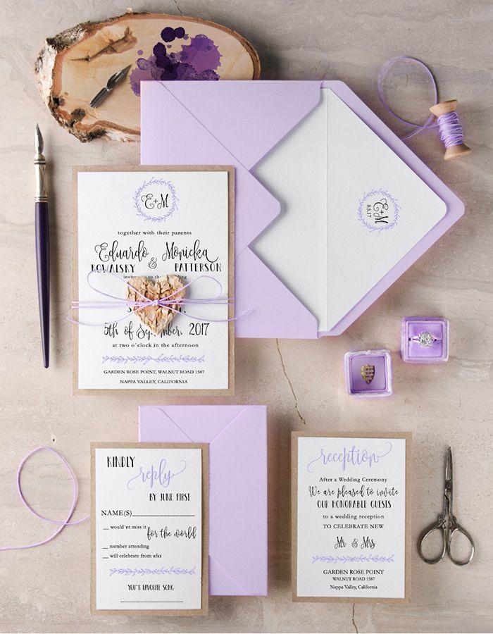 Rustic lilac wedding invitation | Lovely Lavender Wedding ...