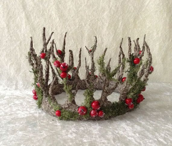 Branches Crown - large, with mos and red berries ( handmade crown in a tree imitation)