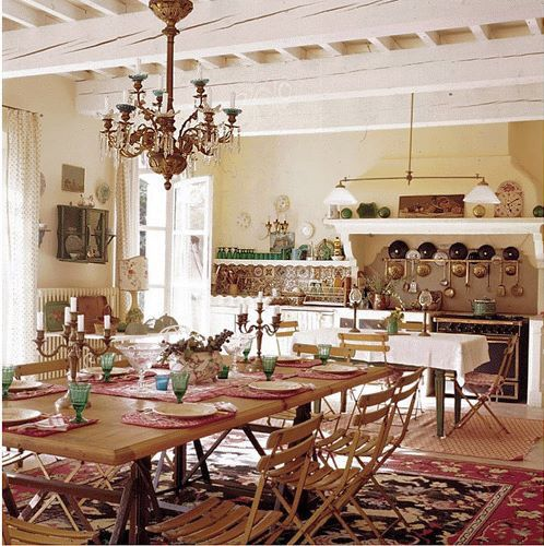 Dining Room Table Decorated Provence Kitchen