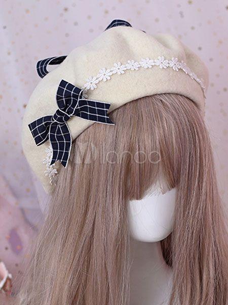 14f64a421366e Sweet Lolita Beret Bow Floral Wool Lolita Hat  Beret