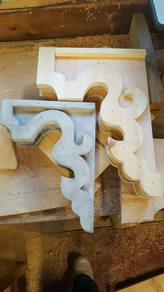 Large Pair Of Wood Corbels Rustic Shelf By Lumberandlaceus On Etsy Rustic Shelves Woodworking Projects Plans Wood