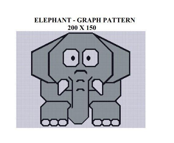 Elephant Graph Pattern For Crochet Tunisian Knit Cross Stitch By