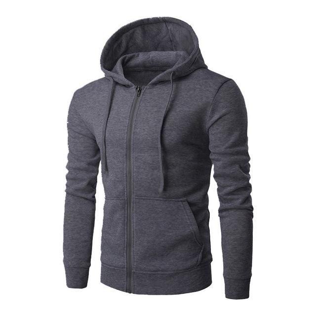 Men Slim Fit Plain Hooded Sweatshirt Zip Up Hoodies Zipper Jacket Winter Outwear