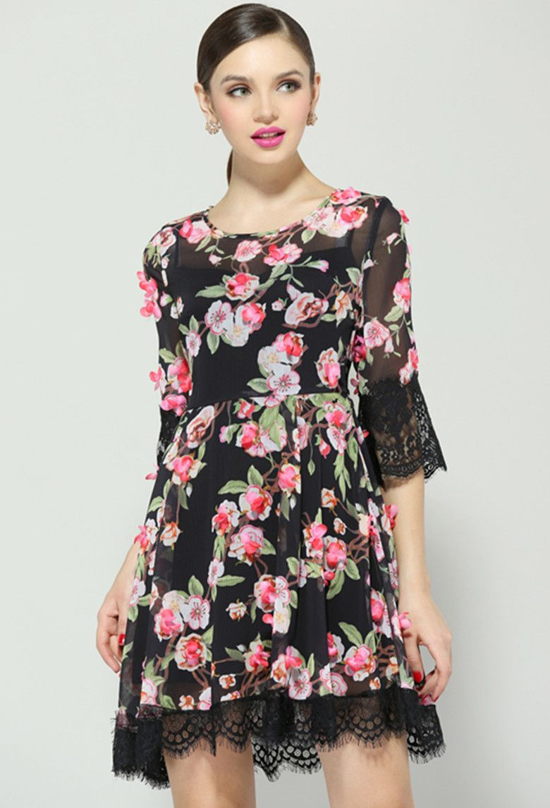 Black floral lace dress if i had a million pinterest