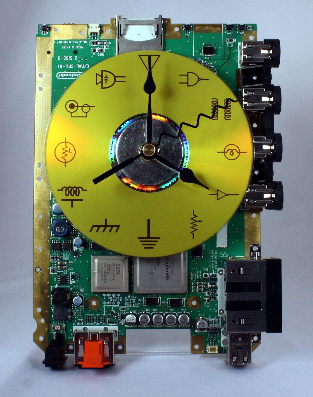 Circuit Board Decor Picture Frame Geekery Pinterest Nintendo Wii Desk Clock Geek 1182x1500