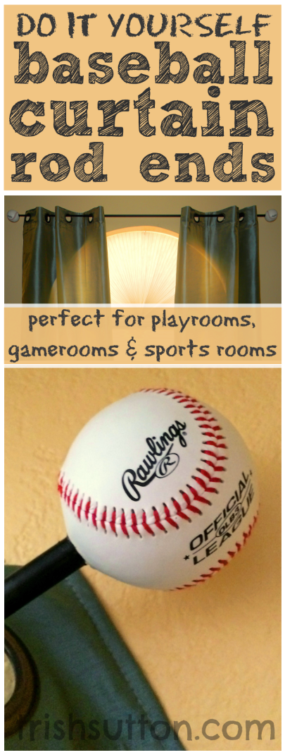 DIY Baseball Curtain Rod Ends | Sport theme, Game and Sport room