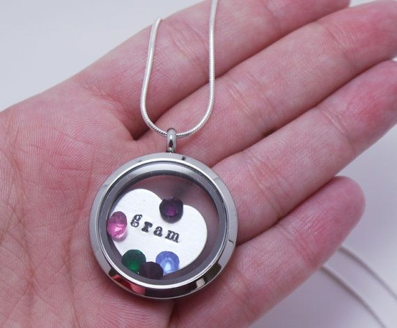 Personalized Grandma Necklace Floating Charm by MadiesCharms, $34.95 Gran: Jan, Aug, Mar?, July? Sep