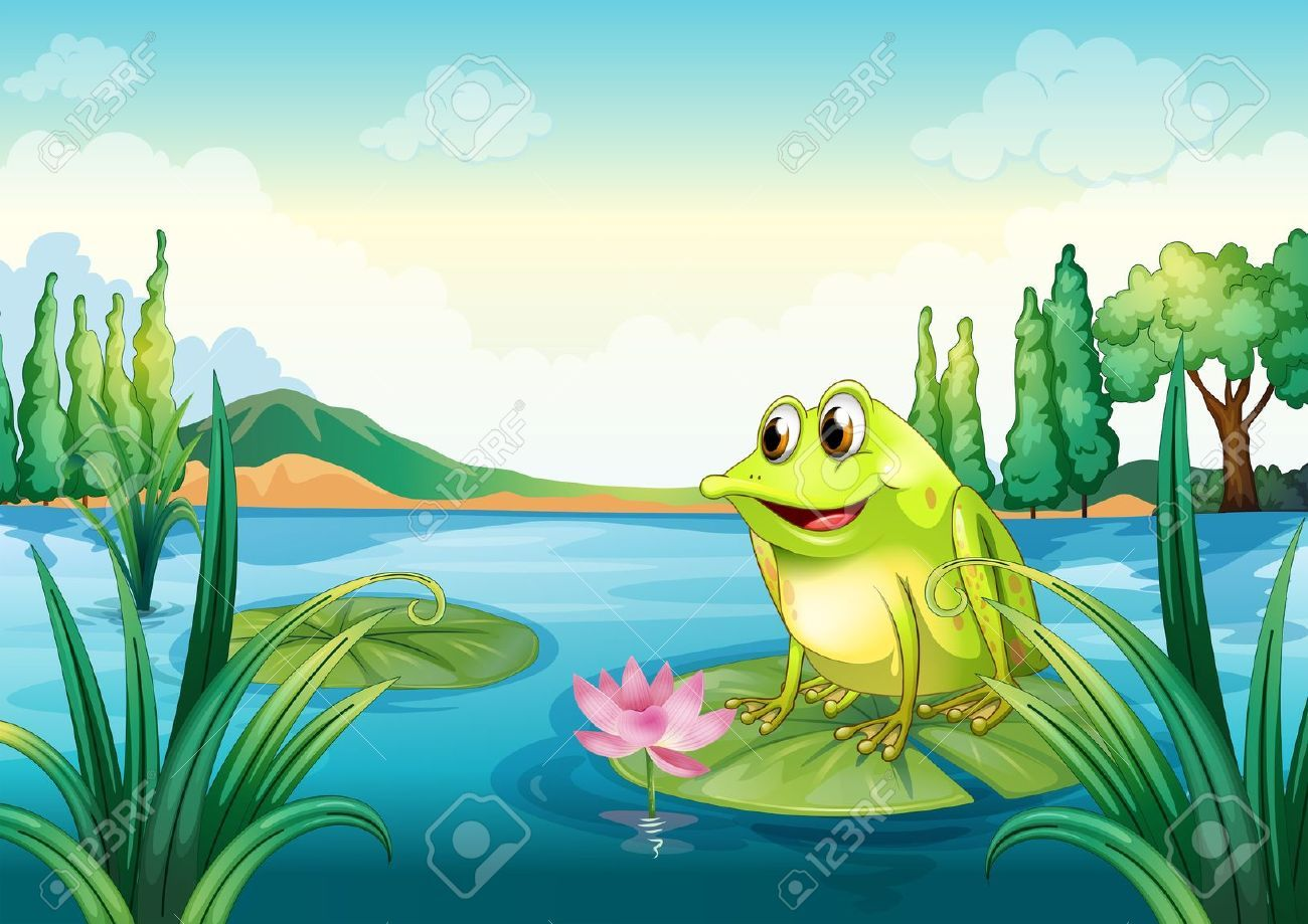 how to draw a frog in a pond