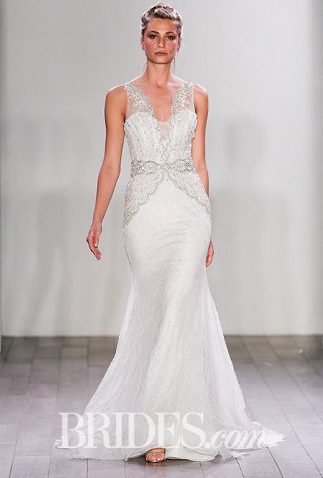 Style 3606 Ivory And Silver Chantilly Lace Slip Wedding Dress