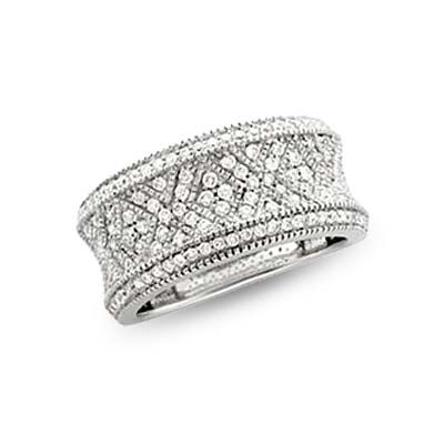 E Wedding Bands.14k White Gold Victoria Diamond Band 75 Ct Clothing