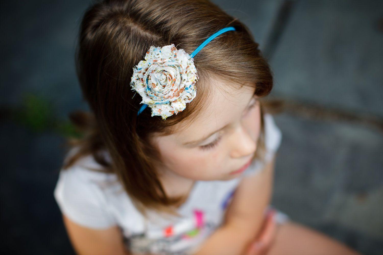 Vintage print chiffon rose elastic headband. $4.50, via Etsy.