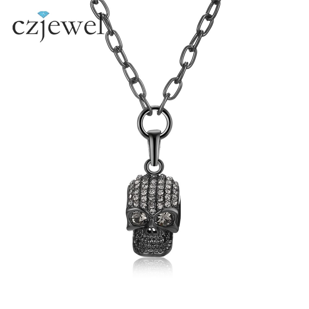 Necklace men women biker motorcycle style black skull pendants