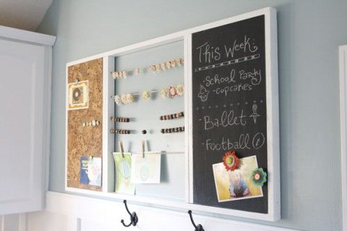 Like the string w/ clothes pins and plain corkboard.  Need hooks for two small clip boards
