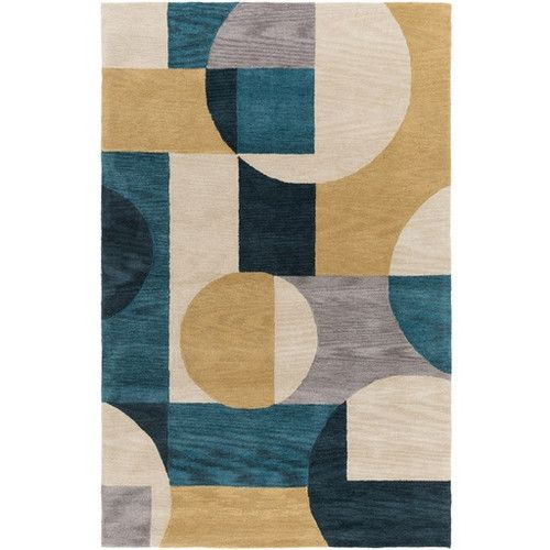 Found It At Wayfair Clare Hand Tufted Blue Green Area Rug Geometric Area Rug Area Rugs Area Throw Rugs