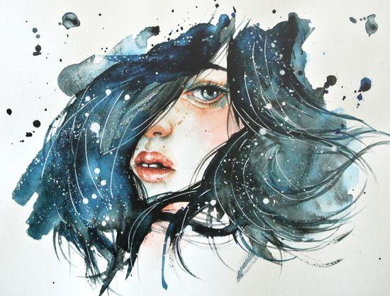Shh By Jenny Viljaniemi Female Girl Face Portrait Watercolor