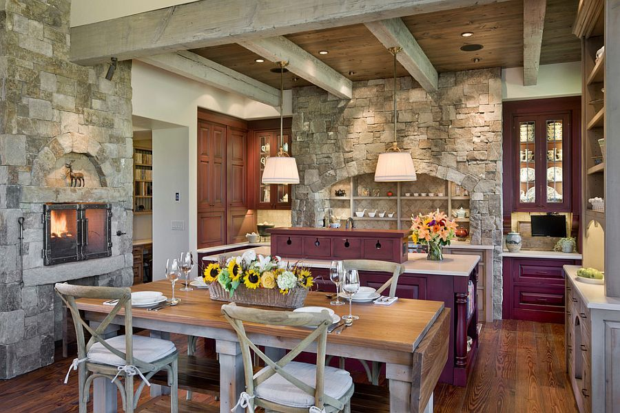 30 Inventive Kitchens With Stone Walls Kitchen Fireplace Rustic