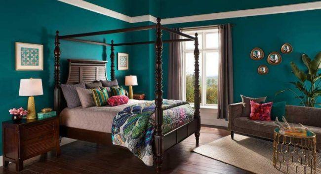 Genial Wandfarbe Petrol Gruen Schlafzimmer Massivholz Himmelbett