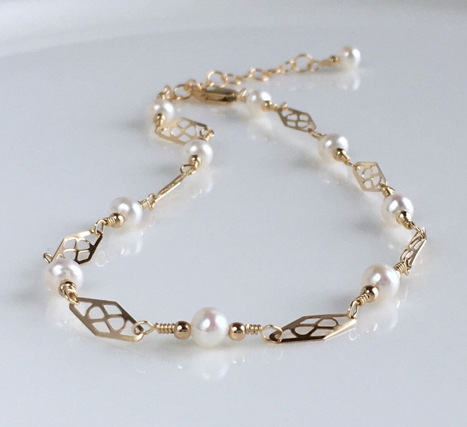 bracelet ankle dainty gold june pin birthstone adjustable anklet pearl