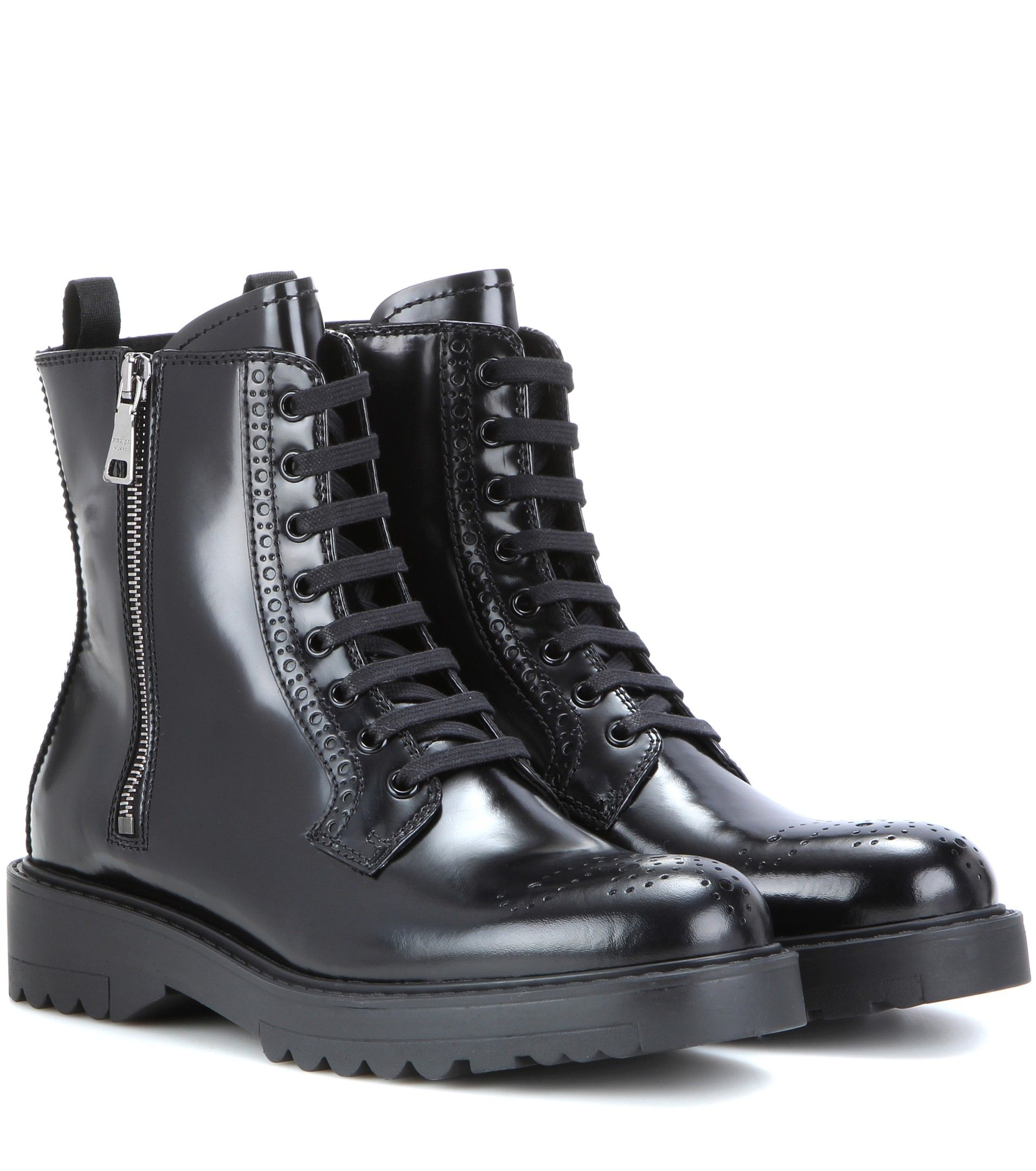 0ed398231e8 Prada Lace-up leather ankle boots Black $129.00 | boots in 2019 ...