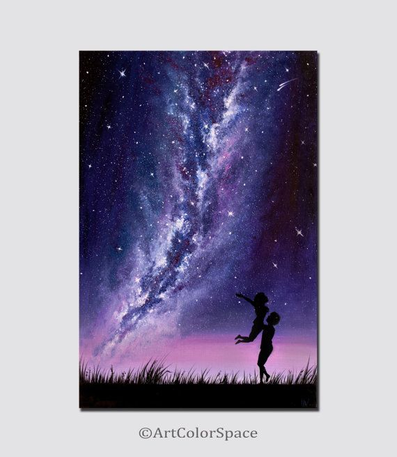 Couple in love art milky way painting space art space painting oil painting on canvas galaxy landscape painting CHRISTMAS SALE