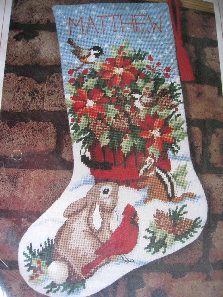 Christmas Holiday Needlepoint Craft Stocking Kit,WOODLAND