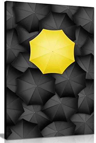 schwarz  weiß leinwand regenschirm gelb art wand bild pr