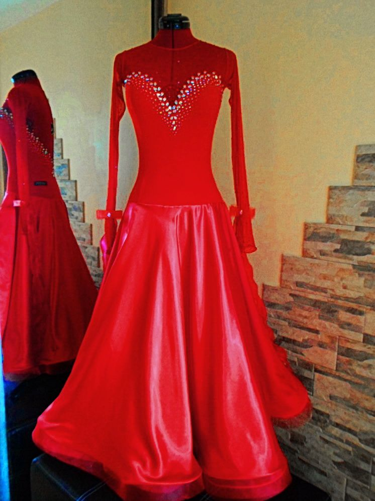 Red Velvet Ballroom Dress - For Sale Selavidance.com | Ballroom ...