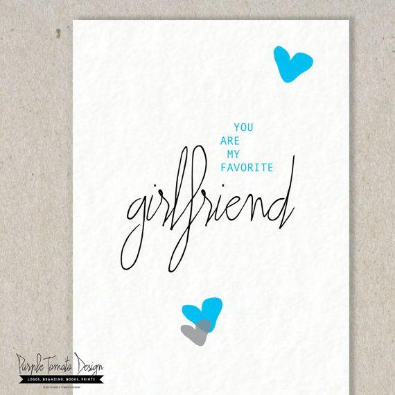 Printable Favorite Girlfriend Card And Envelope DIY Birthday Anniversary Instant Download By PurpleTomatoDesign 350