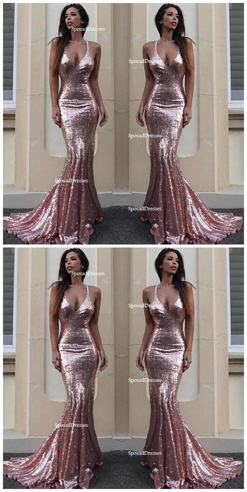 c98acaf0e8 Sexy Backless Rose Gold Sequin Mermaid Evening Prom Dresses