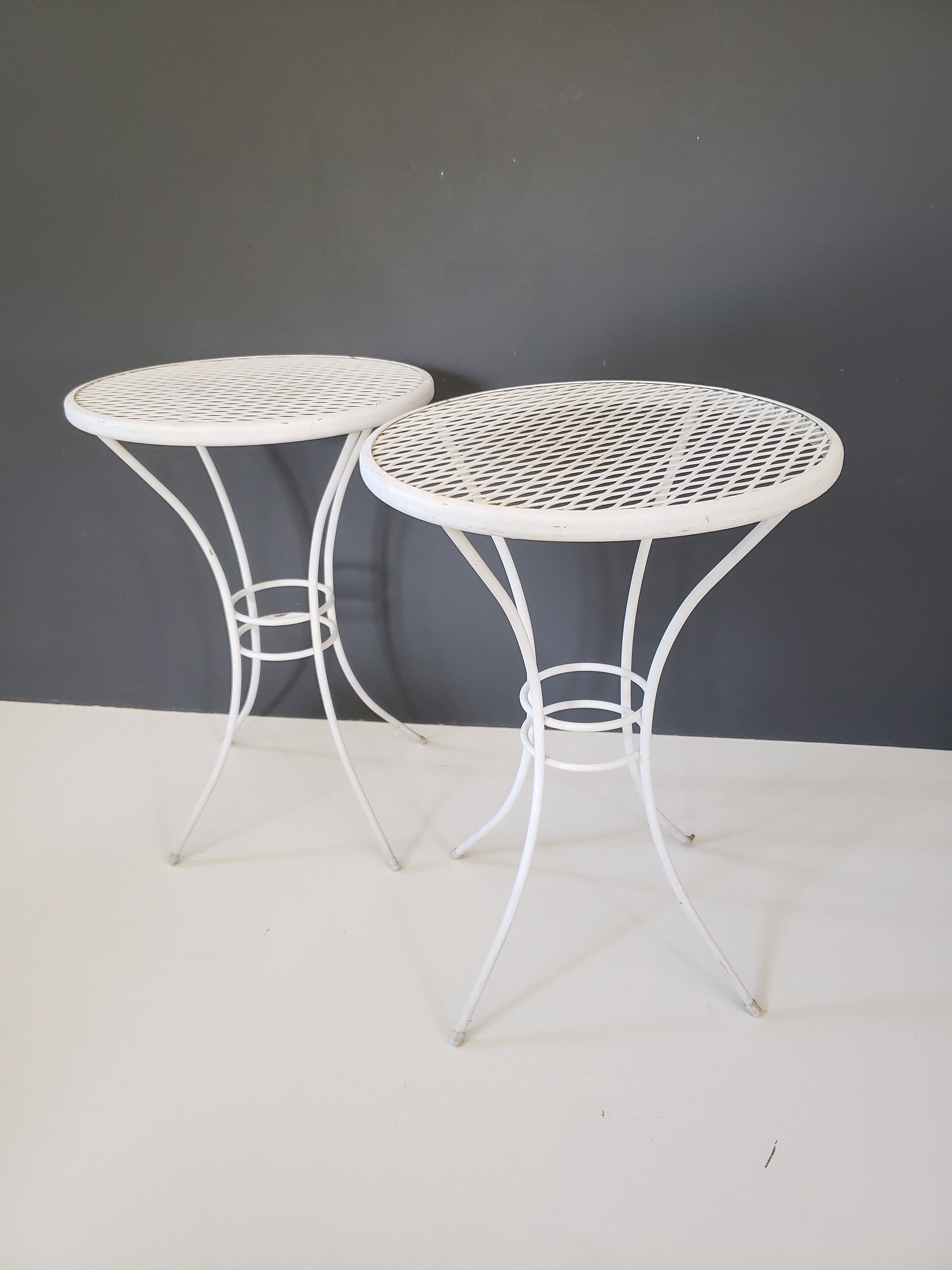 Pair Mid Century Metal Mesh Table Round Plant Stand