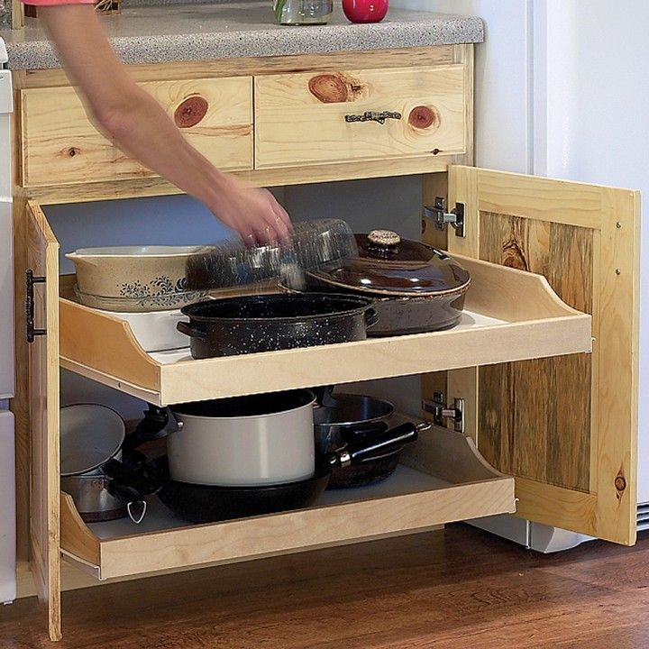 Birch Pullout Shelf Kit For Kitchen Or Bath  Fitted Cabinets Custom Pull Out Kitchen Cabinet Review
