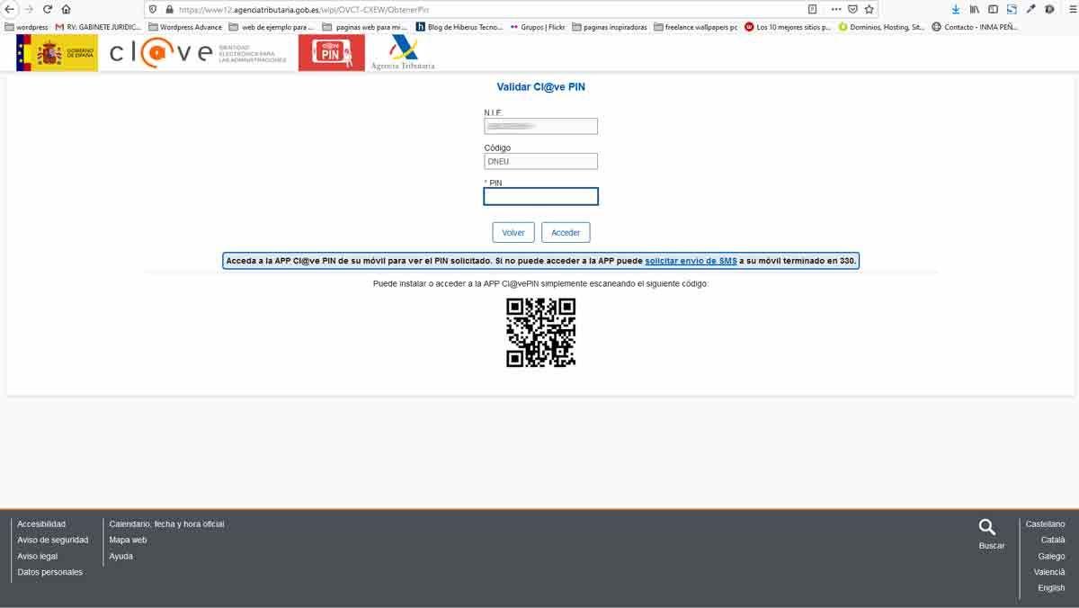 clave pin, quinta pantalla en nuestro navegador