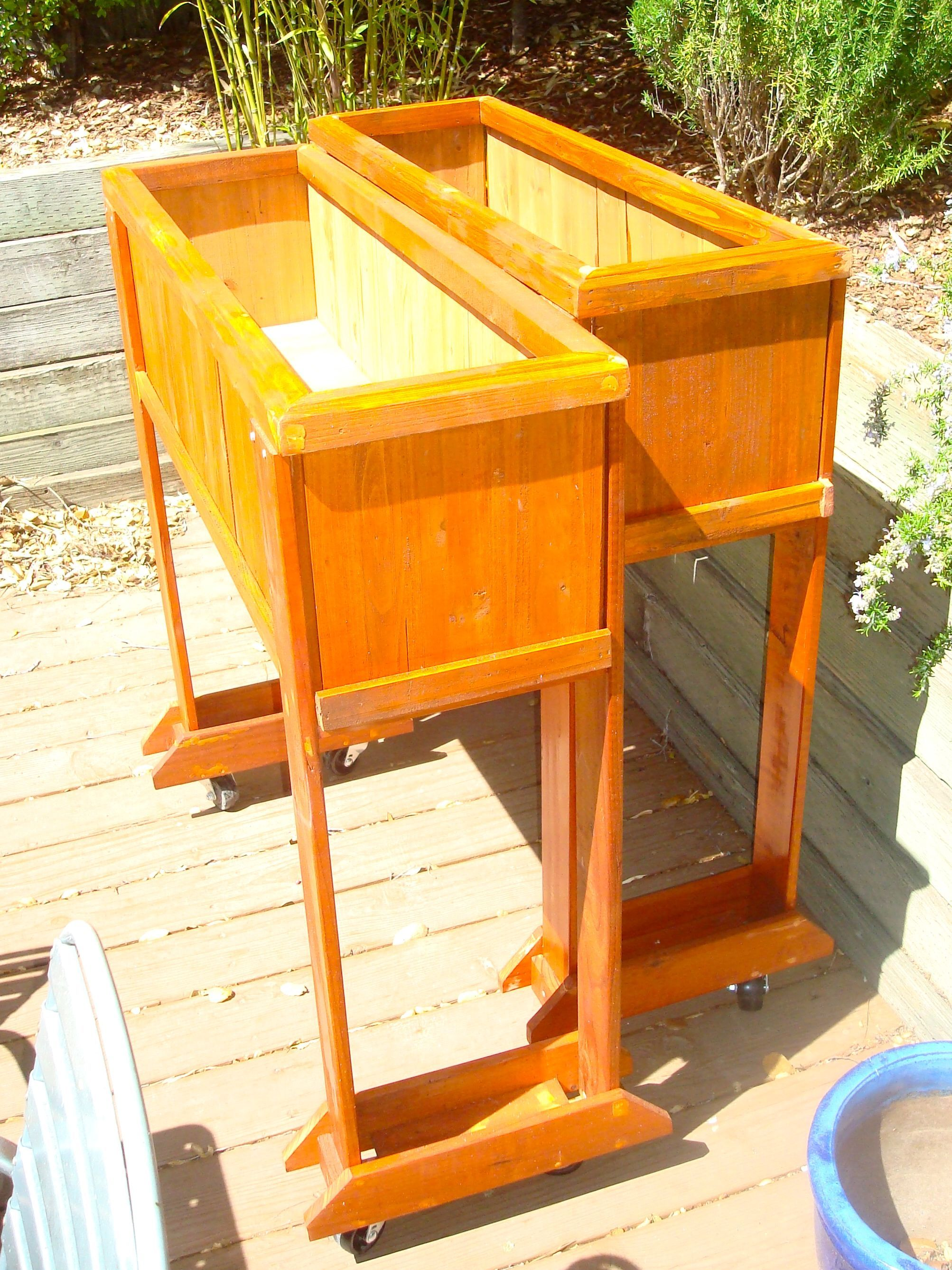 Raised veggies planters are ready for work. Added casters to wheel them around to sunny spots.