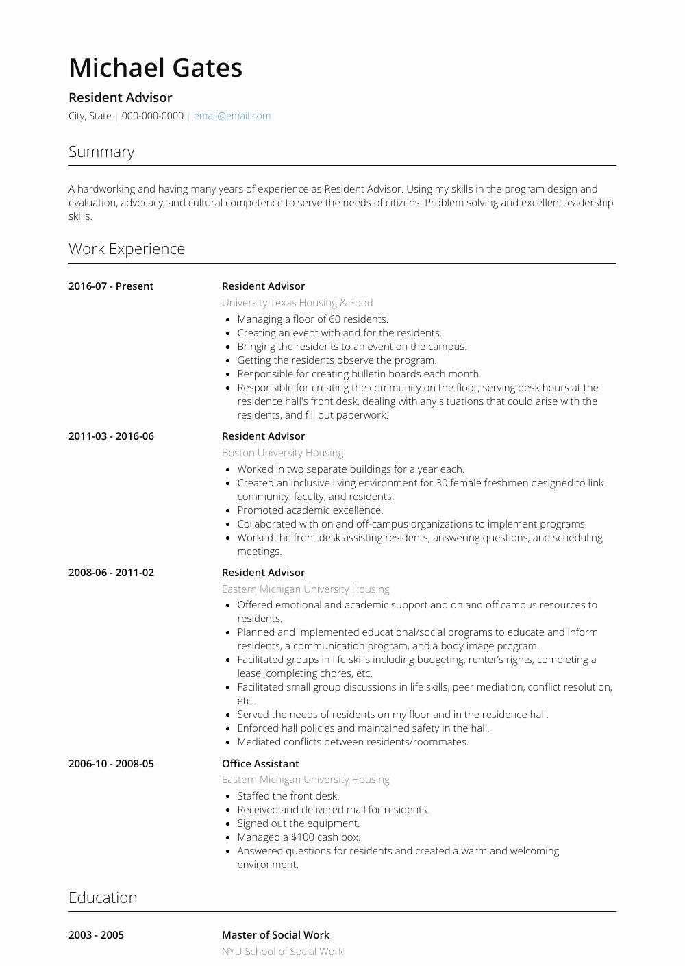 Resident assistant Job Description Resume Luxury Resident