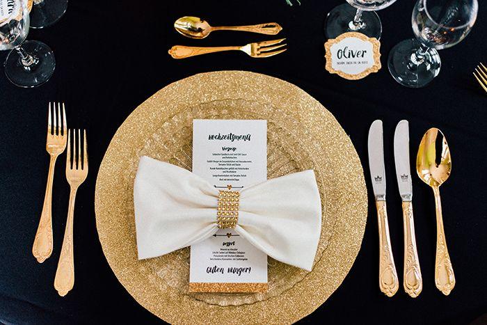 Hochzeitsinspiration In Gold Und Schwarz Tischdeko Hochzeitsdeko Wedding Decoration Pinterest Hochzeitsinspirationen Konzept Liebe