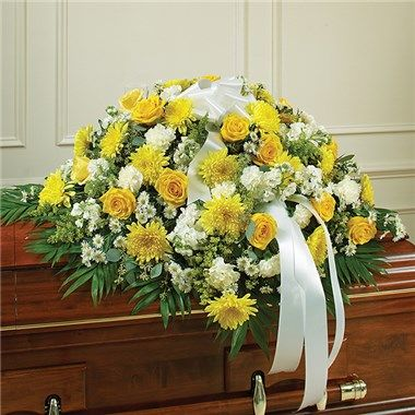 Yellow White Mixed Half Casket Cover The Blue Orchid Flowers In Richmond Michigan Blue Orchid Flower Casket Flowers Blue Orchids