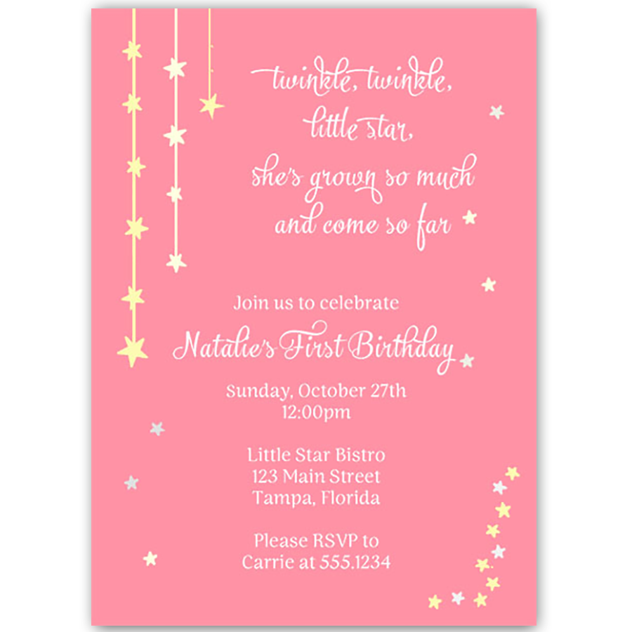 Invite Guests To Your Girls Birthday Party With This Invitation Featuring A Pink Background Gold