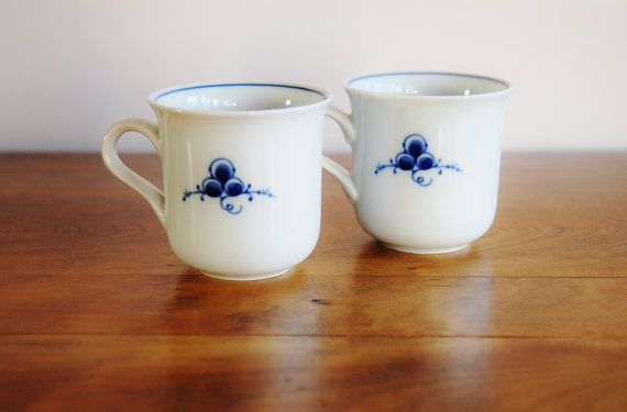 2 Classic Dansk by Dansk Tea Cups Pair of Danish Blue Berries Leaves Porcelain Cups Scandinavian Mod Minimal Blue White Replacement China & 2 Classic Dansk by Dansk Tea Cups Pair of Danish Blue Berries ...