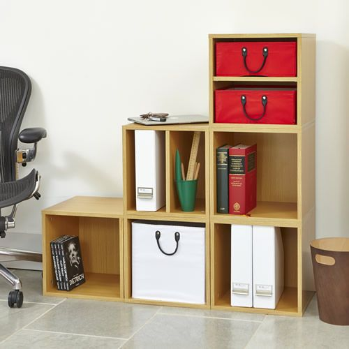 Home Office Oak Modular Storage Cube Set With Small Red Baskets And Large White Basket