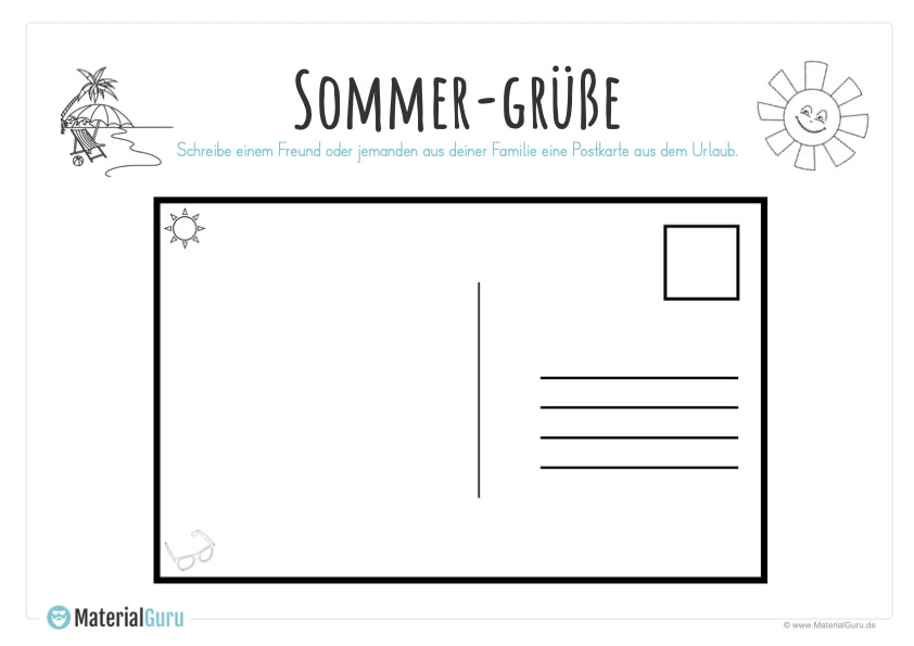 sommerferien unterrichtsmaterial  materialguru