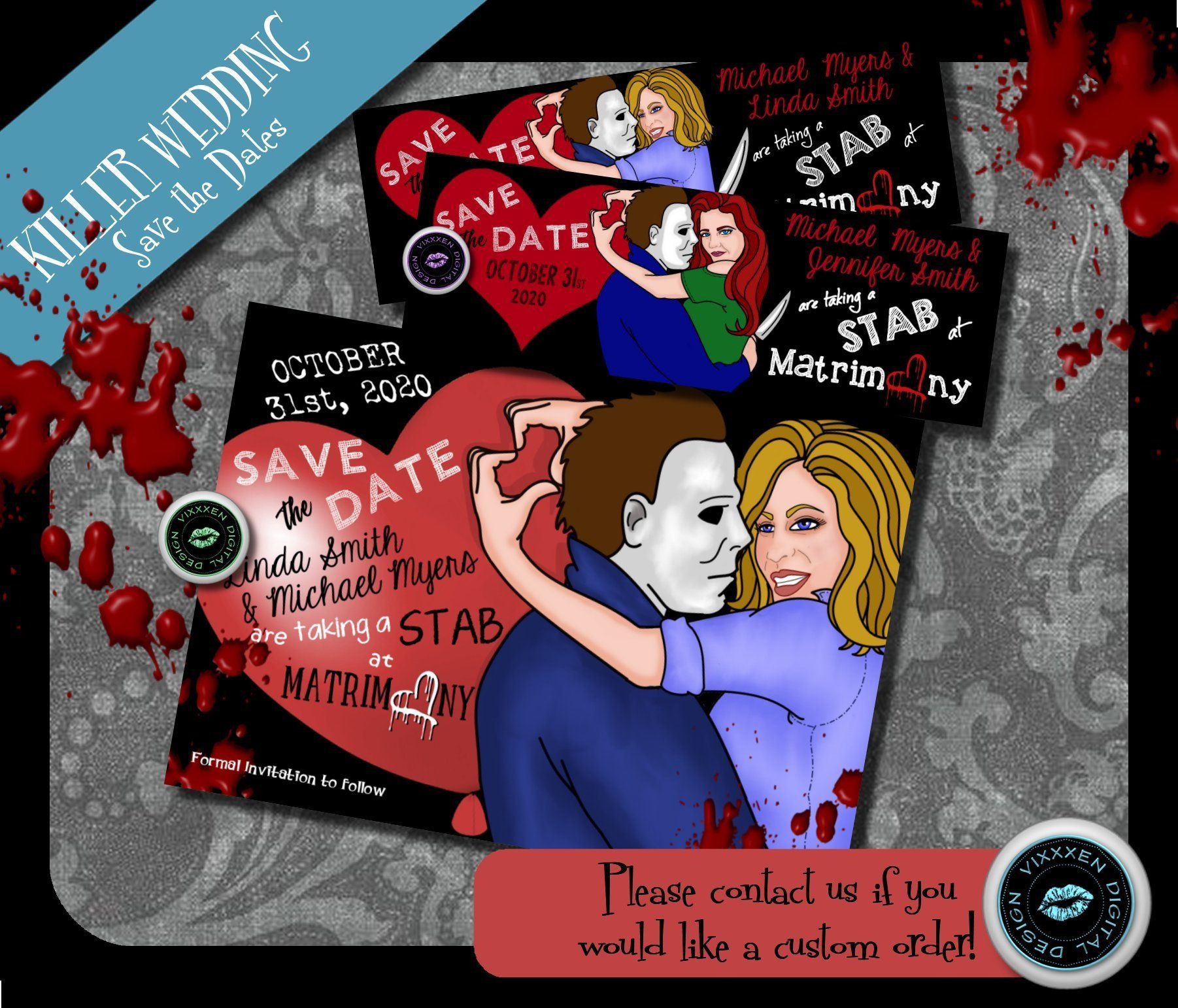 Halloween Save the Date Michael Myers invite Horror Wedding ...