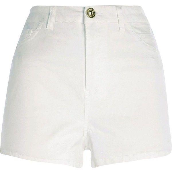 River Island White high waisted denim shorts ($40) ❤ liked on ...