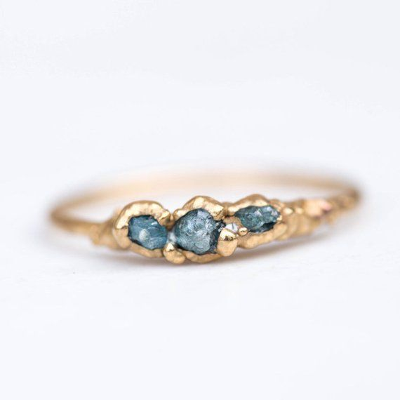 e88e1536a37fa Triple Raw Blue Diamond Ring for Women, Gold Ring, Raw Stone Ring ...