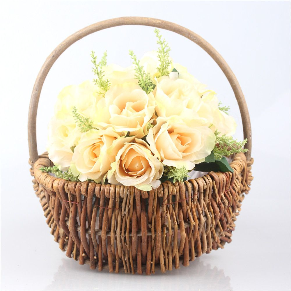 Handmade Hanging Decorative Wicker Woven Portable Basket Gathering ...