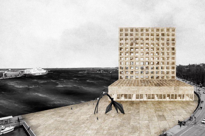 de carniere shapes perpendicular volumes for guggenheim helsinki proposal #architecturerendering