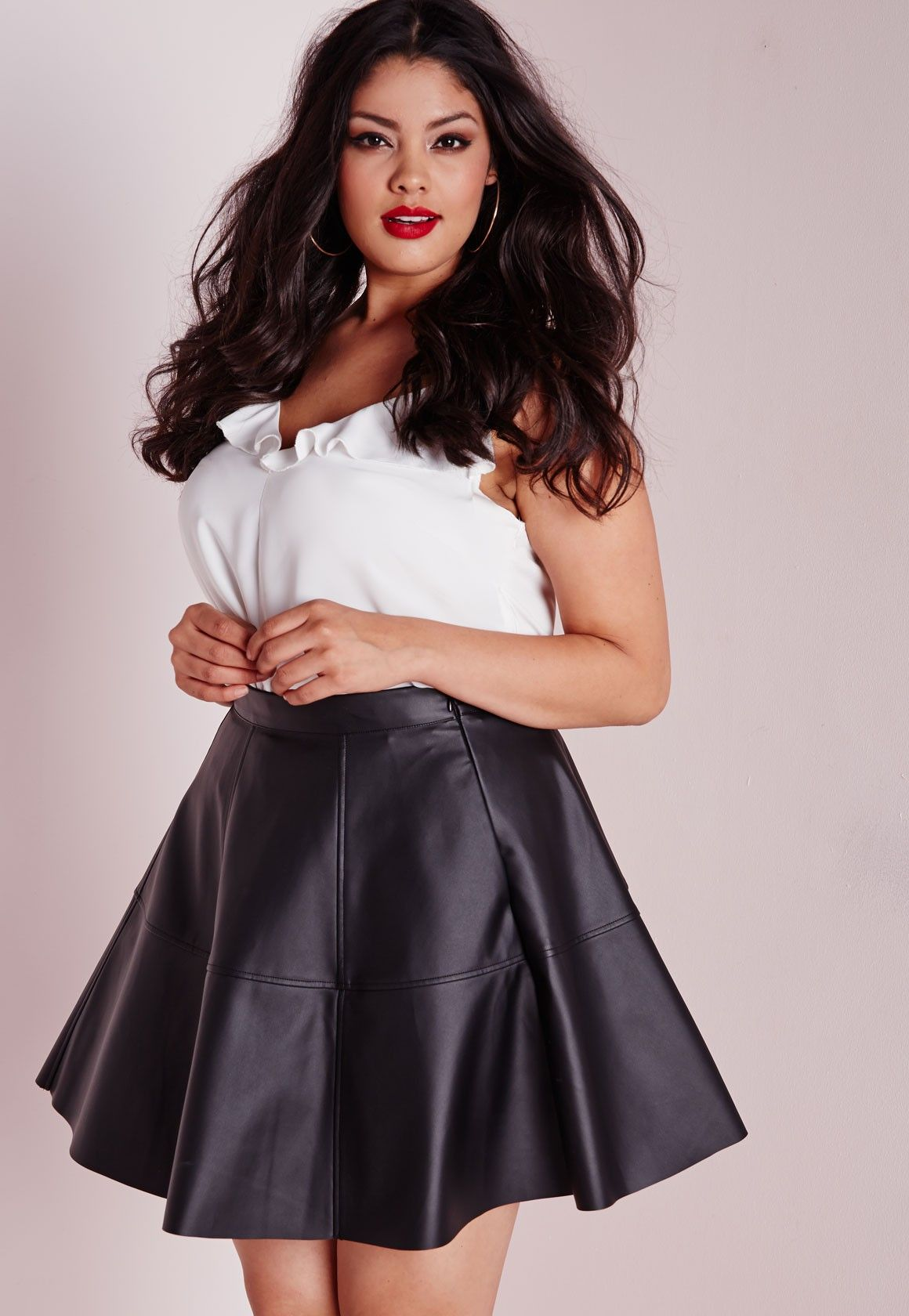 missguided - plus size faux leather skater skirt black | clothing