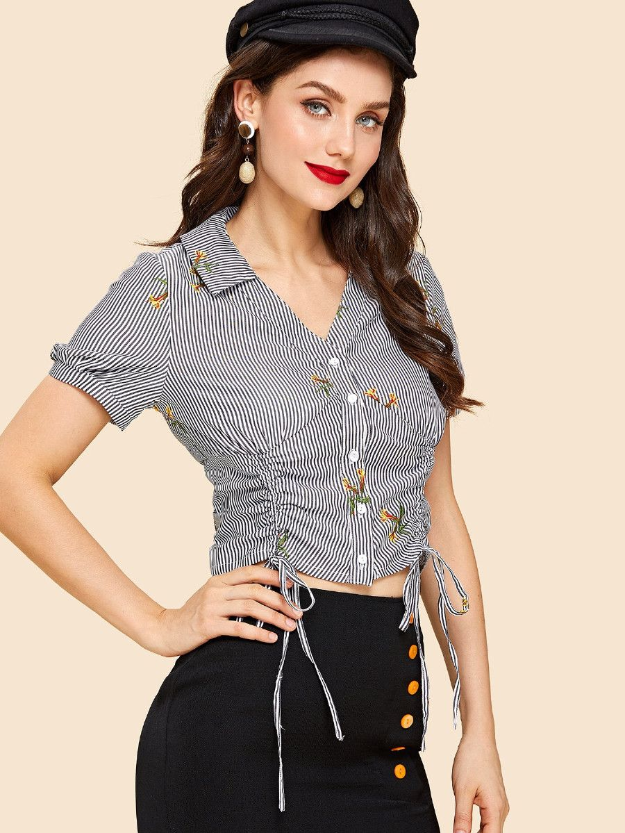 972b4494582 Dual Drawstring Front Shirred Back Embroidered Blouse -SheIn(Sheinside)